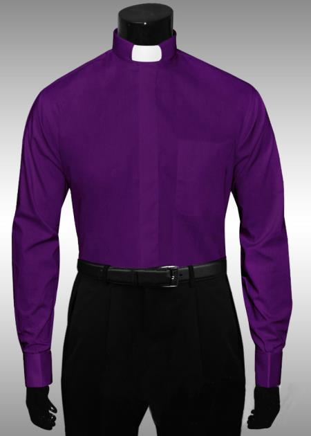SKU#CX308 Purple Clergy Tab Collar French Cuff Mens Shirt $65