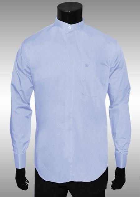 SKU#BK847 Nehru Collar Dress Shirt Baby Blue Light Medium Fabric $65
