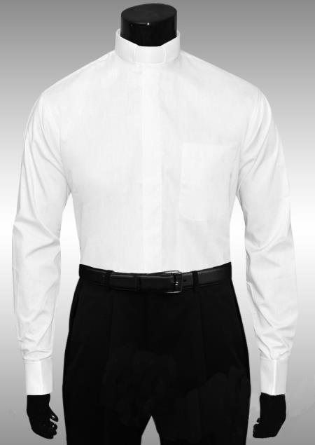 SKU#HS638 White Clergy Tab Collar French Cuff Mens Shirt