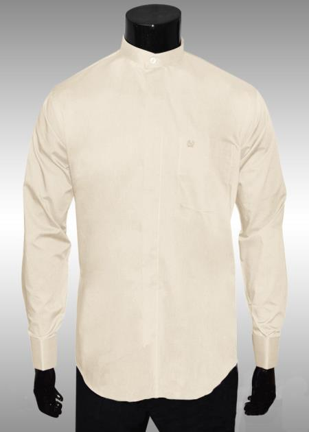 SKU#KF297 Nehru Collar Dress Shirt Ivory Light Medium Wt Fabric $65