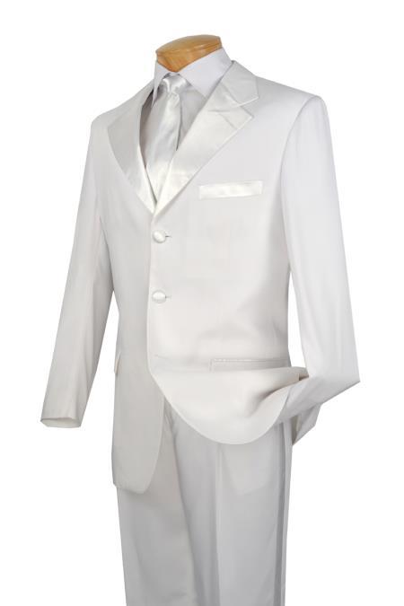 SKU#VWR99 White Tuxedo 2 Piece 3 Button Collection