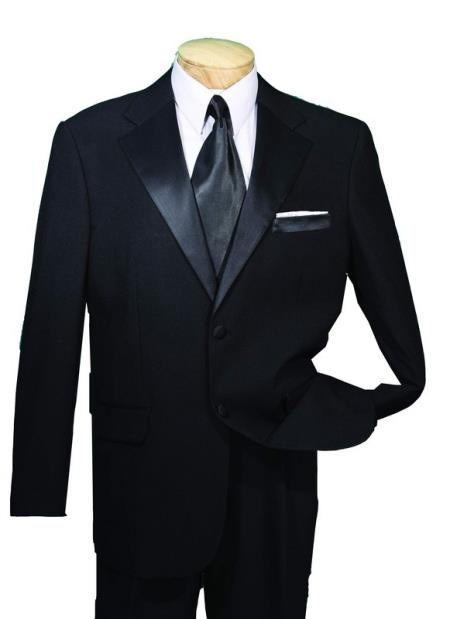 SKU#AVE33 Black Year Round Tuxedo Big and tall Extra Long sizes Available 2 Button Collection
