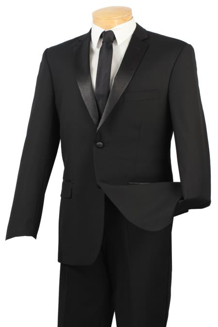 SKU#BVW33 Black Big and tall Extra Long sizes Available 2 Button Slim Fit Tuxedo $295