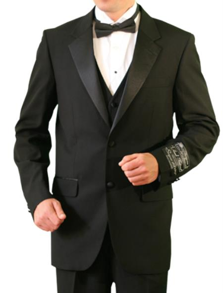 SKU#BBW22 Mens Black Big and tall Extra Long sizes Available 2 Button Tuxedo $295