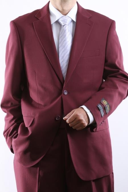 Mens Two Button Superior 100 Burgundy Dress Suit Side Vent Pleated Pants