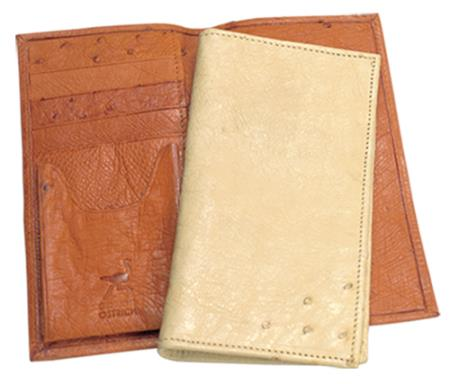 SKU#REC66 Ferrini Genuine Smooth Ostrich Checkbook Wallet in Buttercup, Oryx & Bone