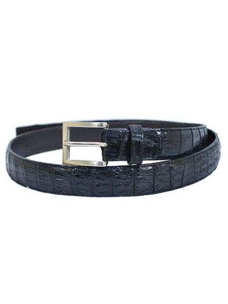 Belvedere Black AllOver Genuine Hornback Crocodile Belt