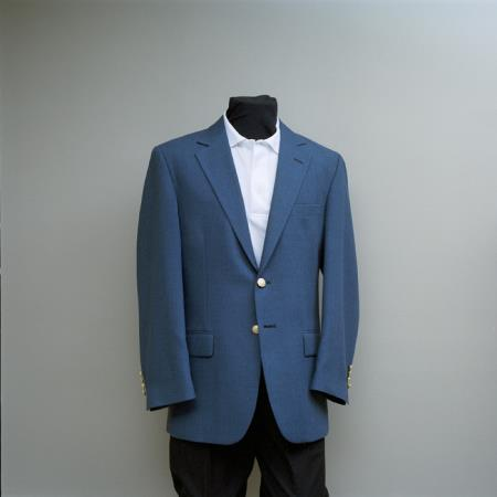 SKU#GC55 Mens 2 Button Blazer Charcoal Blue with brass gold buttons sportcoat $175