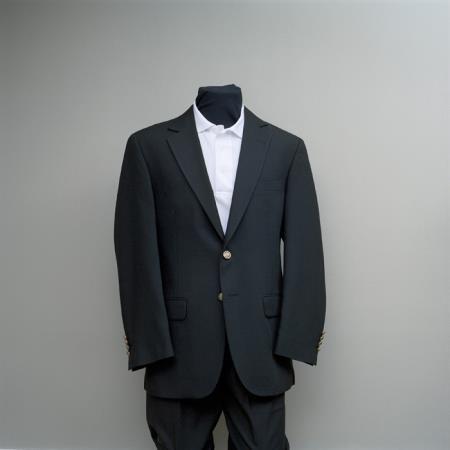 SKU#VVS88 Mens 2 Button Blazer Black Hardwick Clothes with brass buttons sportcoat