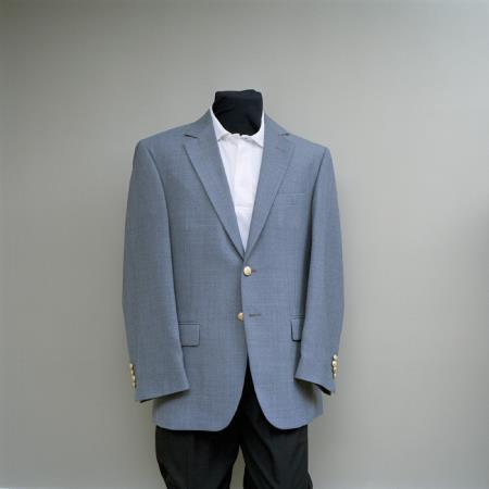 SKU#QDC7 Mens 2 Button Blazer Cambridge Grey with brass buttons sportcoat