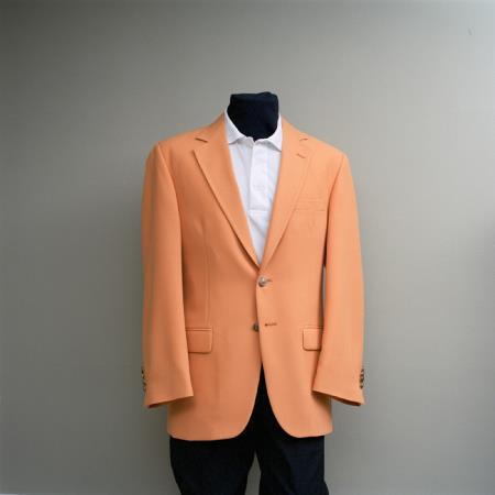 SKU#FFF4 Mens 2 Button Blazer Orange with brass gold buttons sportcoat $175