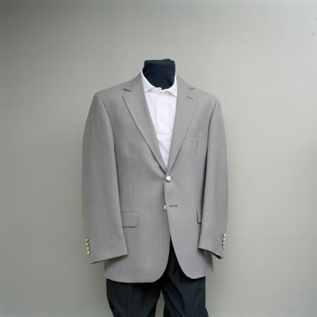 SKU#ILK2 Mens 2 Button Blazer Straw with brass gold buttons sportcoat $175