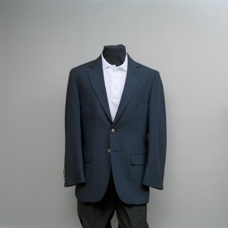 SKU#NYU7 Mens 2 Button Blazer Navy with brass gold buttons sportcoat