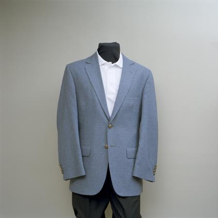 SKU#FBB8 Mens 2 Button Blazer Cambridge Grey with brass gold buttons sportcoat $175