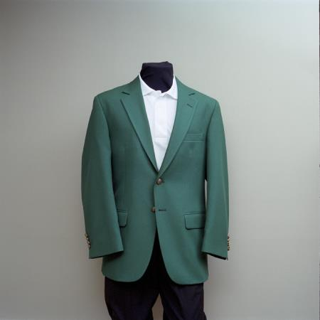 SKU#KKG66 Mens 2 Button Blazer Kelly Green with brass gold buttons sportcoat $175