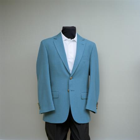 SKU#SFF3 Mens 2 Button Blazer Seafoam with brass gold buttons sportcoat $175