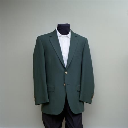 SKU#HUN46 Mens 2 Button Blazer Hunter Green with brass buttons sportcoat