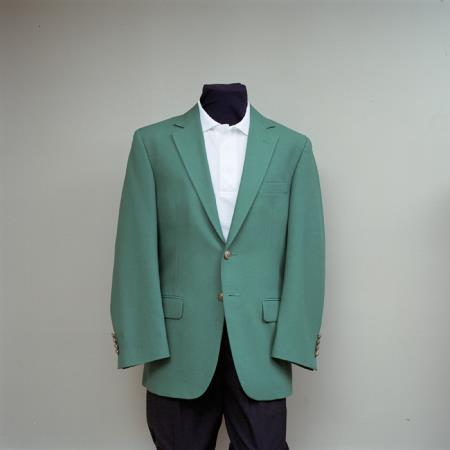 SKU#HBG5 Mens 2 Button Blazer Augusta Green with brass gold buttons sportcoat $175