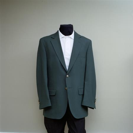 SKU#FFR4 Mens 2 Button Blazer Forest Green with brass gold buttons sportcoat $175