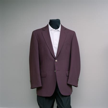 SKU#WPL5 Men's 2 Button 100% Poly Blazer Burgundy ~ Maroon ~ Wine Color with brass buttons sportcoat