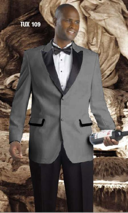 SKU#WDD58 High Quality 2 Button Tuxedos Peak Lapel with Black Satin Collar Dark Grey $595