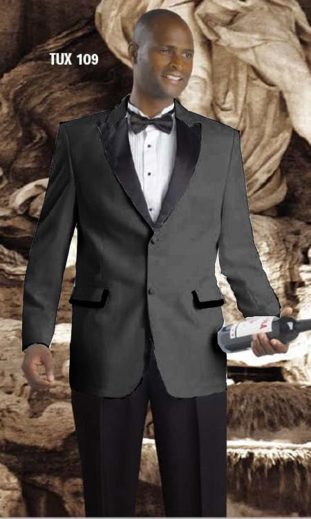 SKU#FVH56 High Quality 2 Button Tuxedos Peak Lapel with Black Satin Collar Charcoal Gray $595