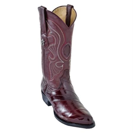 SKU#VBY5 Los Altos Burgundy ~ Maroon ~ Wine Color R-Toe Genuine Eel $199