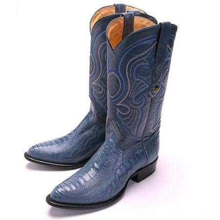 SKU#QQD84 Los Altos Blue Jean R-Toe Genuine Ostrich Leg $299