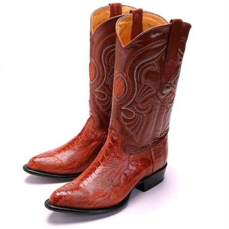 SKU#VVF81 Los Altos Cognac R-Toe Genuine Ostrich Leg