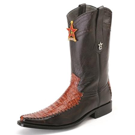 SKU#QQK4 Los Altos Black & Cognac Square Toe Genuine Crocodile $369