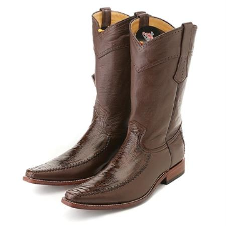 SKU#QQC3 Los Altos Brown Ostrich Leg Square Toe