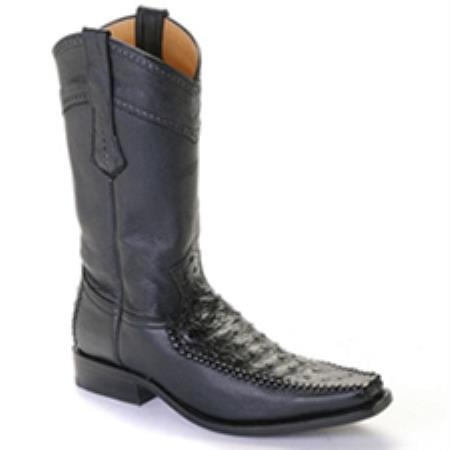 SKU#RVX7 Los Altos Black Ostrich Square Toe $369