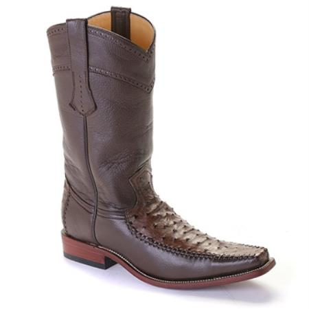 SKU#CAW2 Los Altos Brown Square Toe Ostrich Full Quill $369