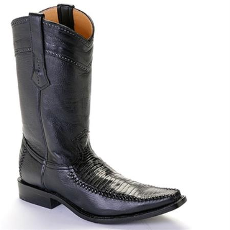 SKU#AAC9 Los Altos Black Lizard & Calf Square Toe