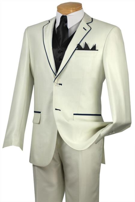 SKU#HNR3 Black Lapel Two Toned Tuxedo Black Trim Microfiber Two Button Notch 5-Piece Choice of Solid White or Ivory