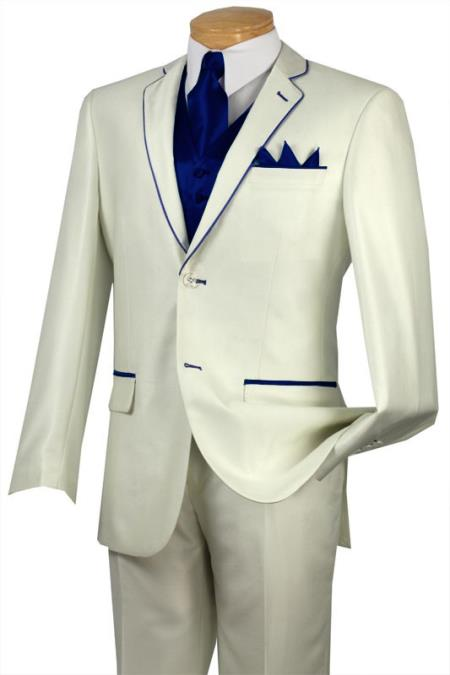SKU#JSV7 Tuxedo Navy Blue Trim Microfiber Two Button Notch 5-Piece Choice of Solid White or Ivory $585
