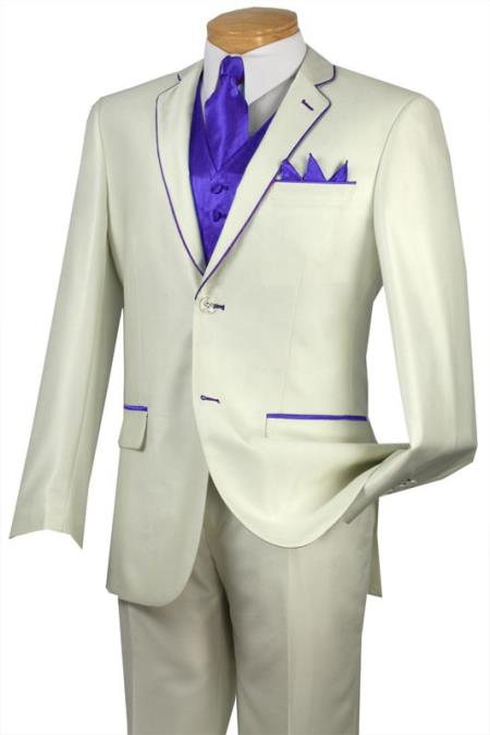 SKU#MGL5 Tuxedo Indigo Trim Microfiber Two Button Notch 5-Piece Choice of Solid White or Ivory $585