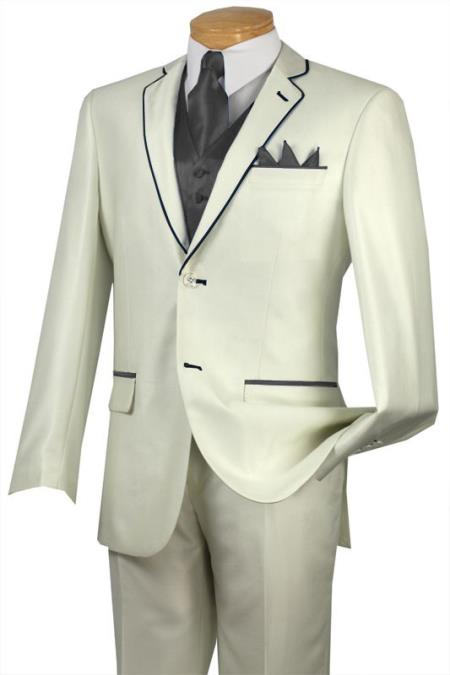 SKU#HPR3 Tuxedo Charcoal Trim Microfiber Two Button Notch 5-Piece Choice of Solid White or Ivory