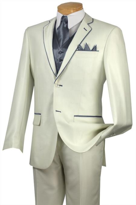 SKU#BRF9 Tuxedo Silver Grey Trim Microfiber Two Button Notch 5-Piece Choice of Solid White or Ivory $585