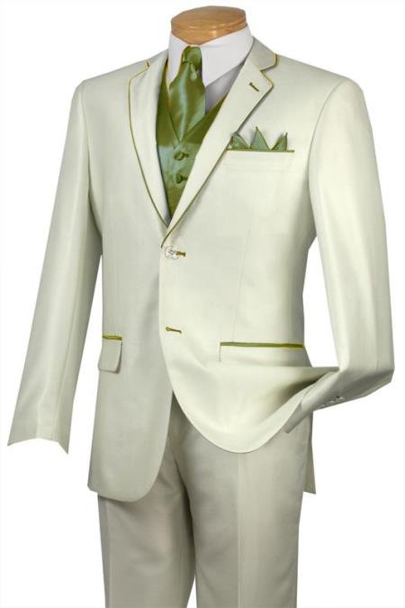 SKU#NTR6 Tuxedo Olive Trim Microfiber Two Button Notch 5-Piece Choice of Solid White or Ivory $585