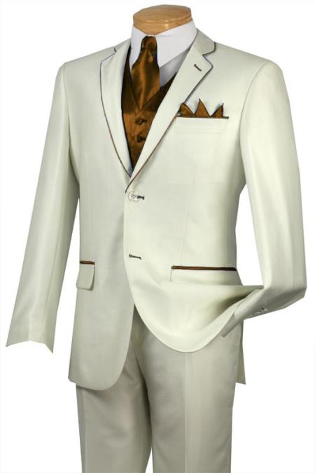 SKU#BEH7 Tuxedo Brown Trim Microfiber Two Button Notch 5-Piece Choice of Solid White or Ivory