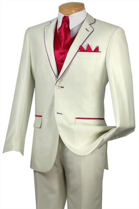 SKU#NGP9 Tuxedo Red Trim Microfiber Two Button Notch 5-Piece Choice of Solid White or Ivory