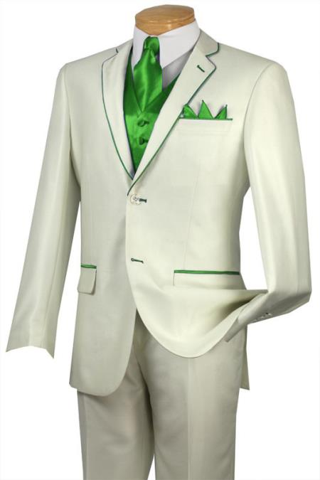 SKU#BRL5 Tuxedo Lime Green Trim Microfiber Two Button Notch 5-Piece Choice of Solid White or Ivory $585