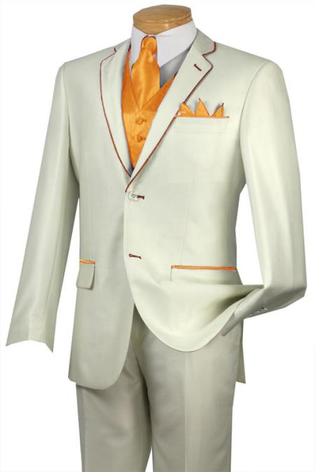 SKU#JHW2 Tuxedo Orange Peach Trim Microfiber Two Button Notch 5-Piece Choice of Solid White or Ivory $585