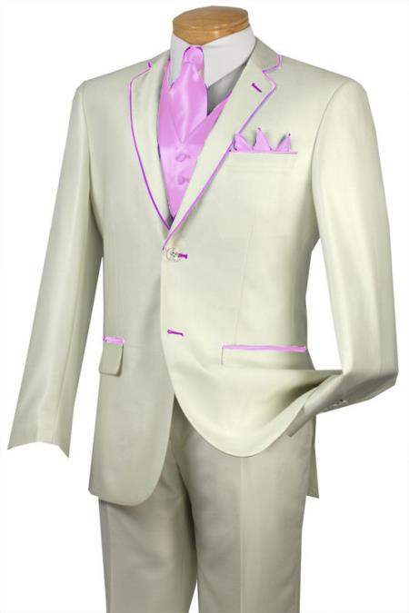 SKU#GKS9 Tuxedo Pink Trim Microfiber Two Button Notch 5-Piece Choice of Solid White or Ivory