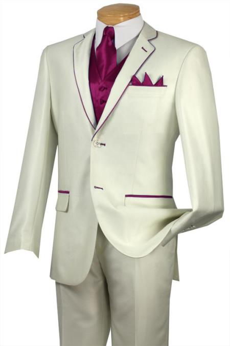 SKU#FVV80 Tuxedo Burgundy Trim Microfiber Two Button Notch 5-Piece Choice of Solid White or Ivory $585