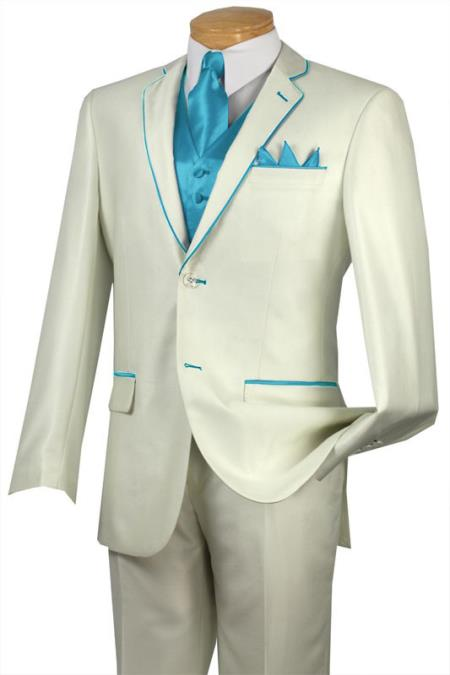 SKU#DJ444 Tuxedo Turquoise Trim Microfiber Two Button Notch 5-Piece Choice of Solid White or Ivory $585