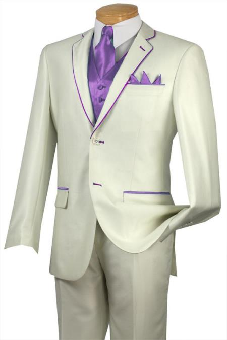 SKU#BBX4 Tuxedo Lavender Trim Microfiber Two Button Notch 5-Piece Choice of Solid White or Ivory