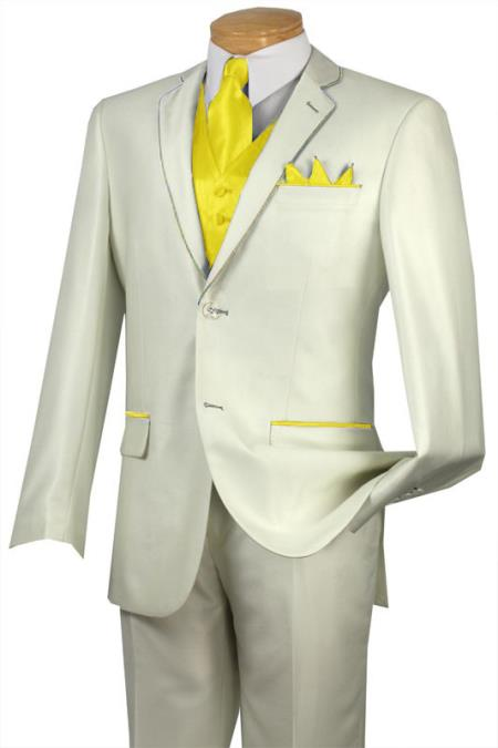 SKU#FFE2 Tuxedo Yellow Trim Microfiber Two Button Notch 5-Piece Choice of Solid White or Ivory