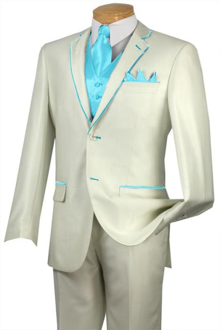 SKU#SKY67 Tuxedo Sky Blue Trim Microfiber Two Button Notch 5-Piece Choice of Solid White or Ivory $585